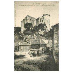 carte postale ancienne 14 FALAISE. Animation Faubourg de la Roche