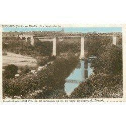 carte postale ancienne 79 THOUARS. Viaduc du Chemin de Fer sur le Thouet 1945