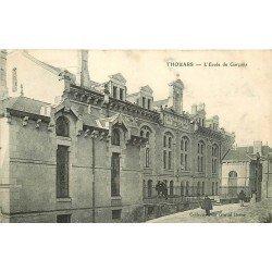 carte postale ancienne 79 THOUARS. Ecole de Garçons. Timbre Taxe 1907