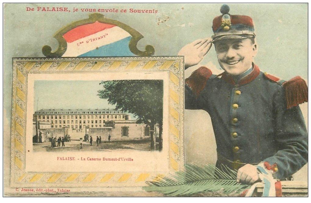 carte postale ancienne 14 FALAISE. Caserne 5° Infanterie et Militaire 1907
