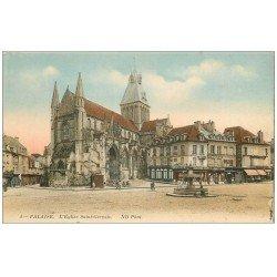 carte postale ancienne 14 FALAISE. Eglise Saint-Gervais et Commerce funéraire Chaupis