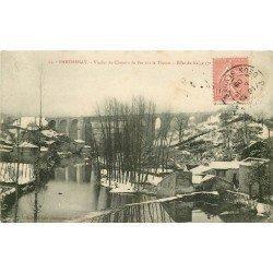 carte postale ancienne 79 PARTHENAY. Viaduc du Chemin de Fer sur le Thouet. Carte écrite à Biot artiste Peintre à Hazebrouck