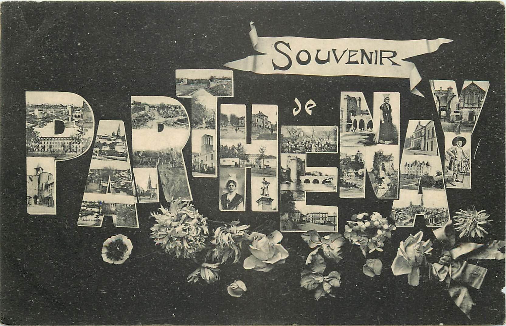carte postale ancienne 79 PARTHENAY. Multivues Fantaisie