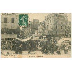 carte postale ancienne 14 FALAISE. Le Marché 1911