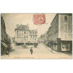 carte postale ancienne 14 FALAISE. Place Belle-Croix 1906 avec Cave à Vins