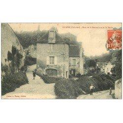 carte postale ancienne 14 FALAISE. Rue Brasserie et la Roche 1913