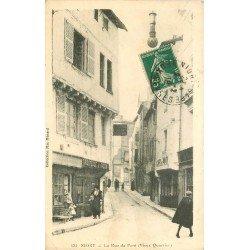 carte postale ancienne 79 NIORT. La Rue du Pont 1918 Tricoteuse à façon et Café du Pont