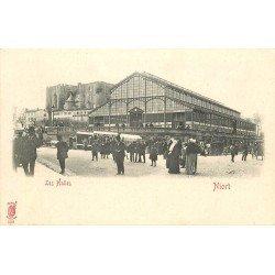 carte postale ancienne 79 NIORT. Les Halles vers 1900