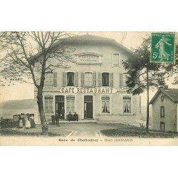52 GARE DE CHALINDREY. Café Hôtel Janniaud 1912 avec son Personnel