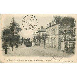 50 AVRANCHES. Train Tramway à vapeur de Saint James Boulevard de l'Est 1905