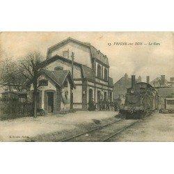 08 VRIGNE AUX BOIS. La Gare avec locomotive à vapeur 1919