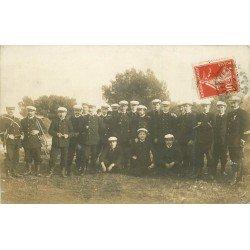 06 VILLEFRANCHE SUR MER. Equipe des Officiers Marins 1913. Carte photo avec Musiciens