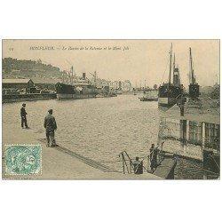 carte postale ancienne 14 HONFLEUR. Bassin Retenue Mont Joli 1906