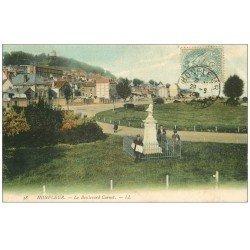 carte postale ancienne 14 HONFLEUR. Boulevard Carnot Vendeur de journaux 1906 en couleur