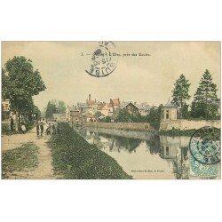 carte postale ancienne 02 GUISE. L'Oise près des ecoles 1908