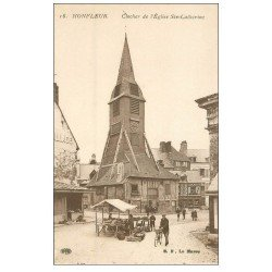 carte postale ancienne 14 HONFLEUR. Eglise Sainte-Catherine Clocher 16