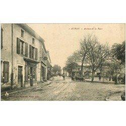 carte postale ancienne 81 ALBAN. Avenue de la Gare 1919 Tabac et écoliers.