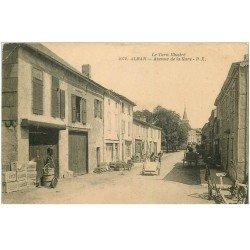 carte postale ancienne 81 ALBAN. Avenue de la Gare 1928 avec vieille pompe à essence personnelle