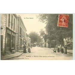 carte postale ancienne 81 ALBAN. Pâtisserie Café de l'Espérance Avenue d'Albi 1907 diligence à l'arrêt