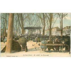 carte postale ancienne 81 ALBI. La Promenade avec Kiosque à musique et Musiciens 1914