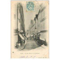 carte postale ancienne 81 ALBI. La Rue Mariés et Cathédrale 1905 Félix Potin