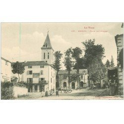 carte postale ancienne 81 ANGLES DU TARN. Café du Commerce Place de l'Eglise vers 1900