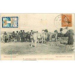 carte postale ancienne 81 ANGLES DU TARN. Le Batut scène de Foire aux Bestiaux. Timbre tuberculose 1929