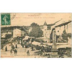 carte postale ancienne 81 BRASSAC. Le Marché et l'Obélisque de la Place du Pont
