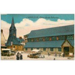 carte postale ancienne 14 HONFLEUR. Eglise Sainte-Catherine et Marché 2 en couleur