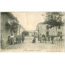 carte postale ancienne 81 CADALEN. Grand Rue Epicerie et Café vers 1933