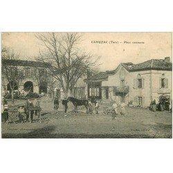 carte postale ancienne 81 CAHUSAC. Place Commune avec Maréchal Ferrand et un Cheval 1909