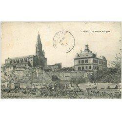 carte postale ancienne 81 CARMAUX. Mairie et Eglise avec Jardiniers 1911