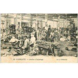carte postale ancienne 81 CARMAUX. Ouvriers à l'Atelier d'ajustage 1927