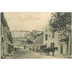 carte postale ancienne 81 CASTELNAU-DE-MONTMORAL. Attelage Route de Gaillac et Lafayette 1914 destinataire à Ajaccio