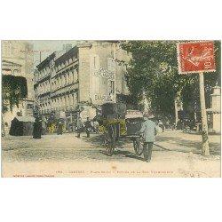 carte postale ancienne 81 CASTRES. Diligence et Charretier Rue Villegoudon et Place Soult 1908 Café Esplanade