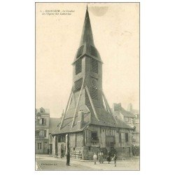 carte postale ancienne 14 HONFLEUR. Eglise Sainte-Catherine le Clocher 1