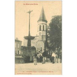 carte postale ancienne 81 DOURGNE. Fontaine et Eglise 1912