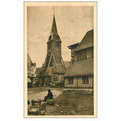 carte postale ancienne 14 HONFLEUR. Eglise Sainte-Catherine le Clocher et marchande