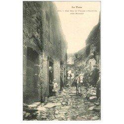 carte postale ancienne 81 HAUPOUL. Une Rue du Village avec Ane