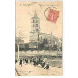 carte postale ancienne 81 LABRUGUIERE. Clocher et Pont animation vers 1907