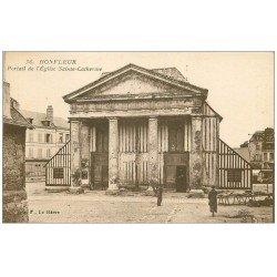 carte postale ancienne 14 HONFLEUR. Eglse Sainte-Catherine Portail