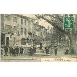 carte postale ancienne 81 LABRUGUIERE. Kiosque à musique et Boulevard de la République 1909 Tabac