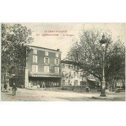 carte postale ancienne 81 LABRUGUIERE. Le Kiosque à musique et Epicerie Centrale 1915