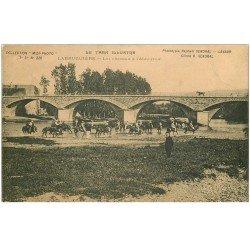 carte postale ancienne 81 LABRUGUIERE. Les Chevaux à l'Abreuvoir Militaires. Timbre Taxe 1906