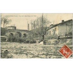 carte postale ancienne 81 LABRUGUIERE. Pont de la République et le Teint 1909 animation