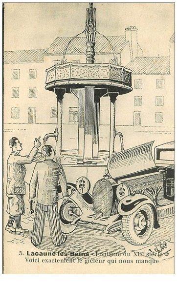 81 lacaune les bains fontaine et voiture ancienne depuis - Dessin humoristique voiture ...