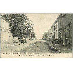 carte postale ancienne 81 VILLEFRANCHE D'ALBIGEOIS. Attelage charrue Avenue d'Alban
