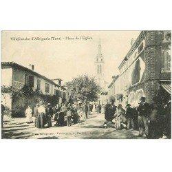 carte postale ancienne 81 VILLEFRANCHE D'ALBIGEOIS. Café Place de l'Eglise