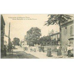 carte postale ancienne 81 VILLEFRANCHE D'ALBIGEOIS. Route Nationale et Jardin Pézous