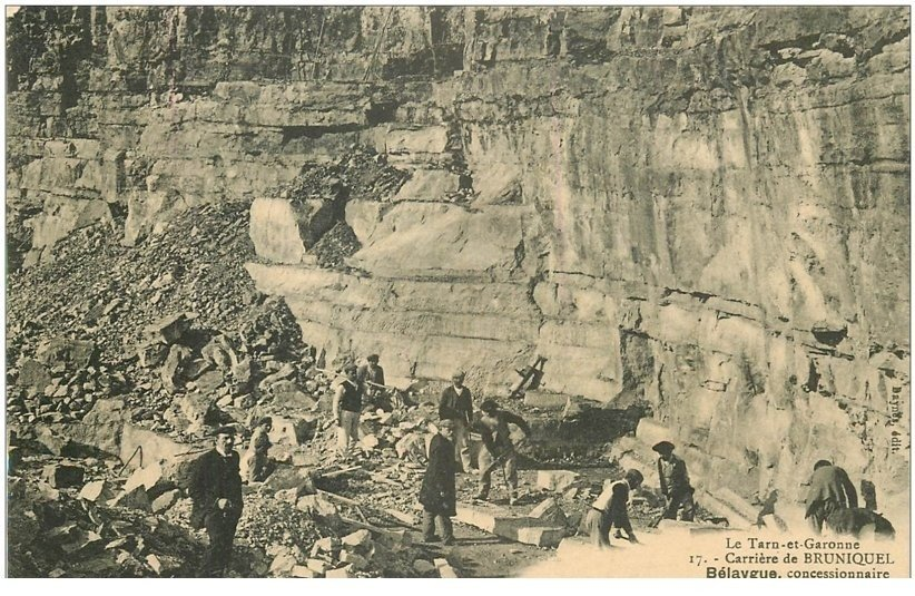 carte postale ancienne 82 BRUNIQUEL. Belaygue concessionnaire Carrière de Calcaire et Sable. Tailleurs de pierres